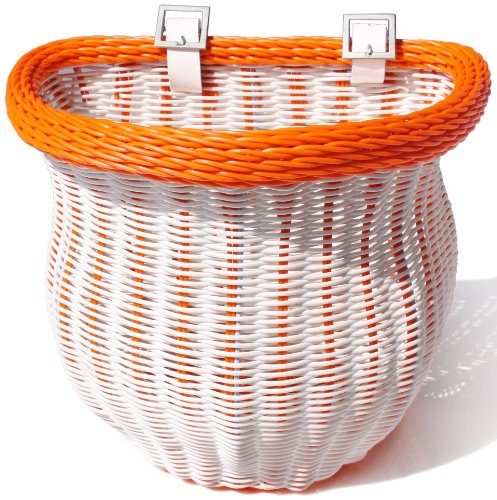 Colorbasket 01389 Adult Front Handlebar Bike Basket, White with Orange Trim - Limited Edition