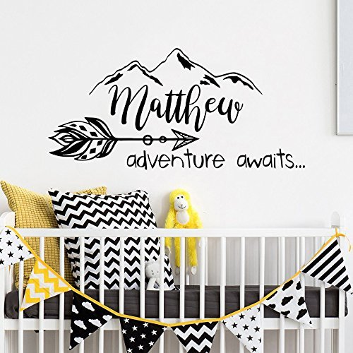 Adventure awaits wall decal name arrow vinyl sticker quote decal mountain personalized name decals boho wall