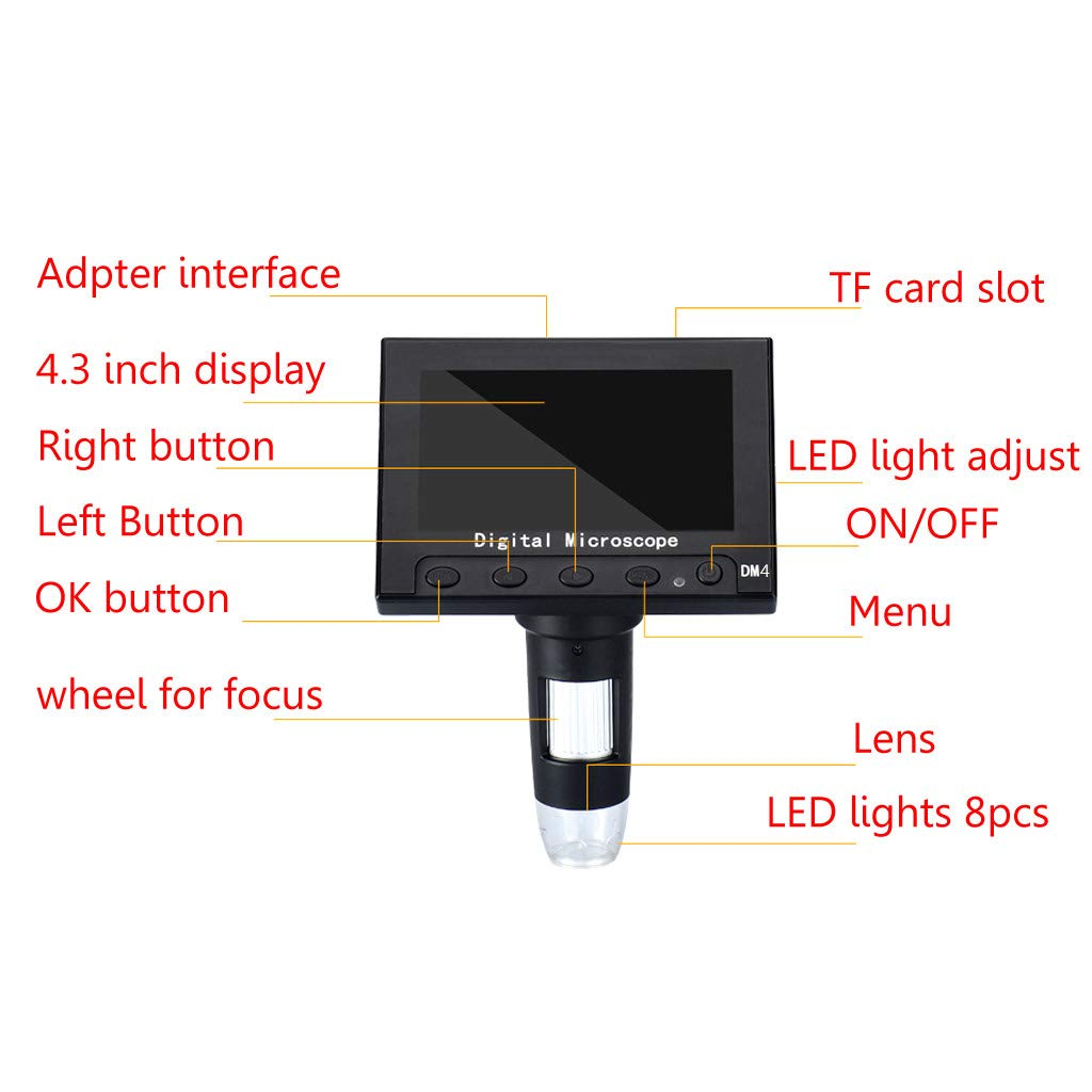 KUKALE Stand 1000X Digital Microscope Camera 4.3 Screen Soldering Magnifier Tool with Holder Tool