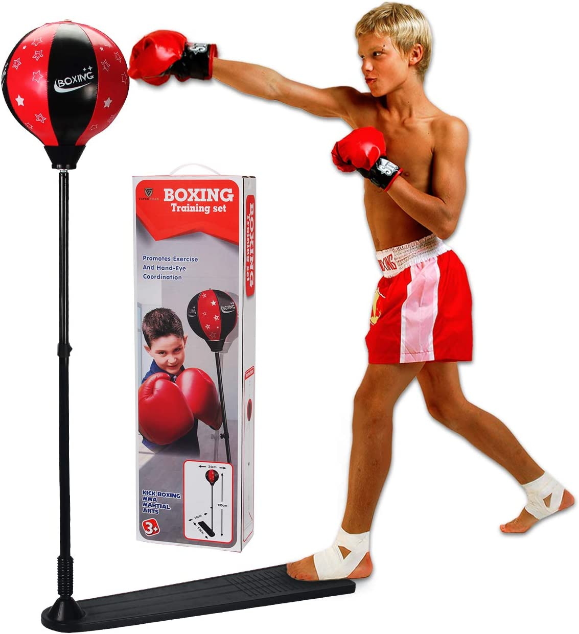 Boxing Free Standing Punch Bag Junior Kick  MMA Children Free Gloves Gift