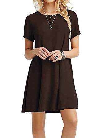 71fb28b21c0e Image Unavailable. Image not available for. Color  MOLERANI Women s Casual  Plain Simple T-Shirt Loose Dress (L ...