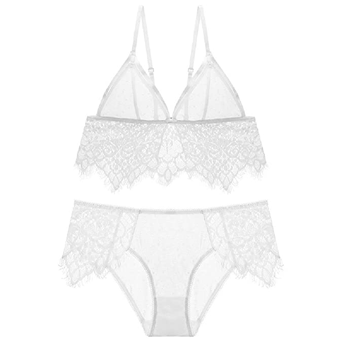 SYGoodBUY Conjunto de lencería para Mujer Triangle Cup Ropa Interior Sexy Sujetador de Encaje Floral Underwire