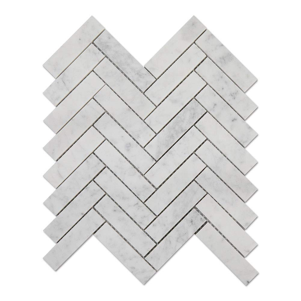 Diflart Carrara White Italian Bianco Carrera Marble 1x4 Inch Herringbone Mosaic Tile Honed 5 Sheets/Box by Diflart