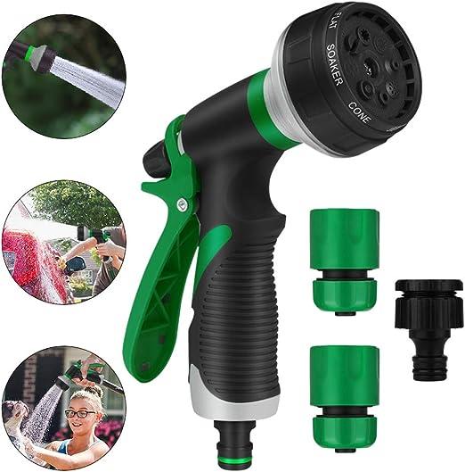 Pistola de Riego Multifuncional-Rociador de Mano de Alta presión, Pistola de Agua de jardín de 8 Funciones, Boquilla para Manguera para Riego de Jardín/Césped, Lavado de Autos, Baño de Mascotas: Amazon.es: Jardín