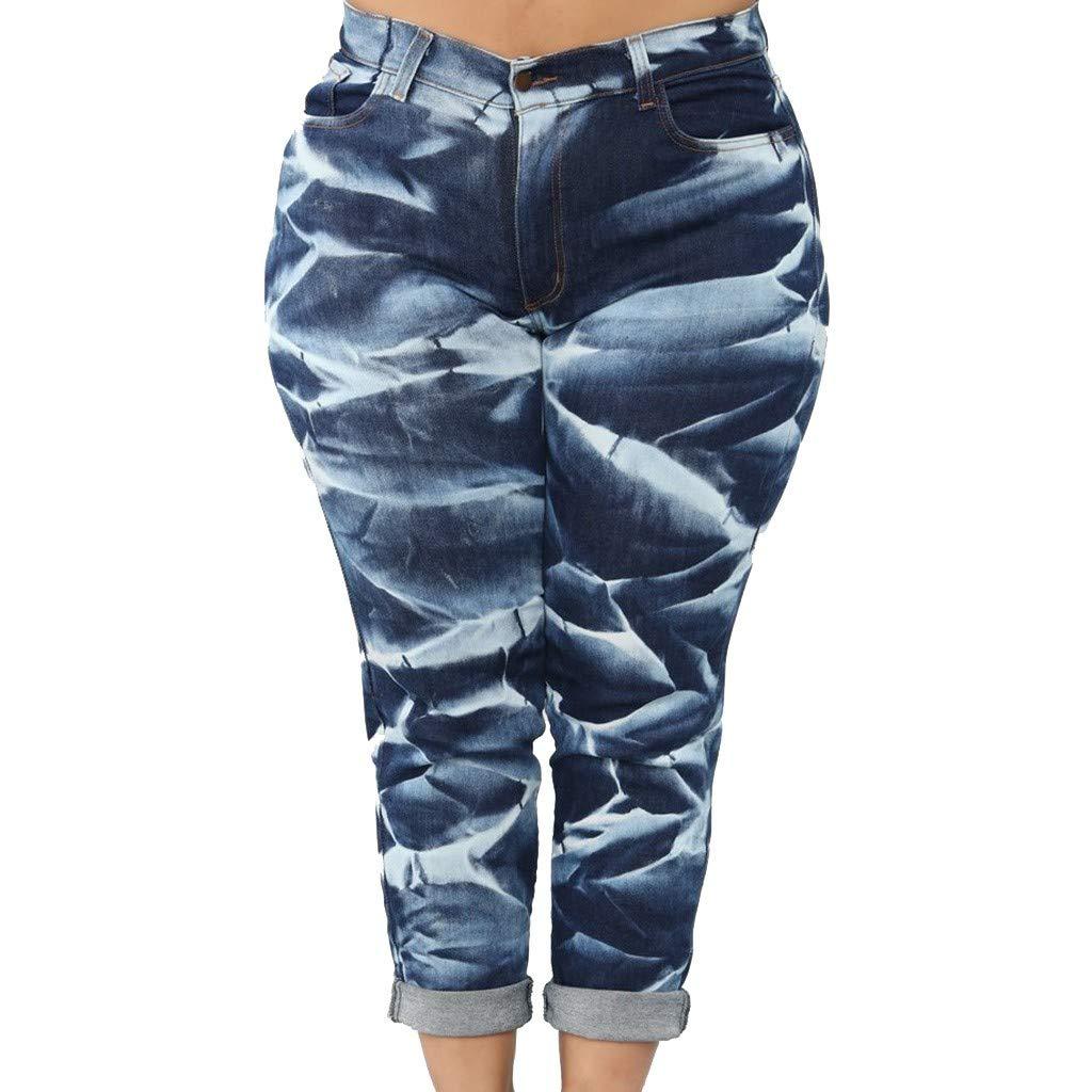 IEason Women Vintage Print Denim Plus Size Foldable Ankle-Length Pants Casual Straight Trousers