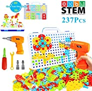 HAPTIME 237 Pieces Electric DIY Drill Educational Set, STEM Learning Toys, 3D Construction Engineering Buildin
