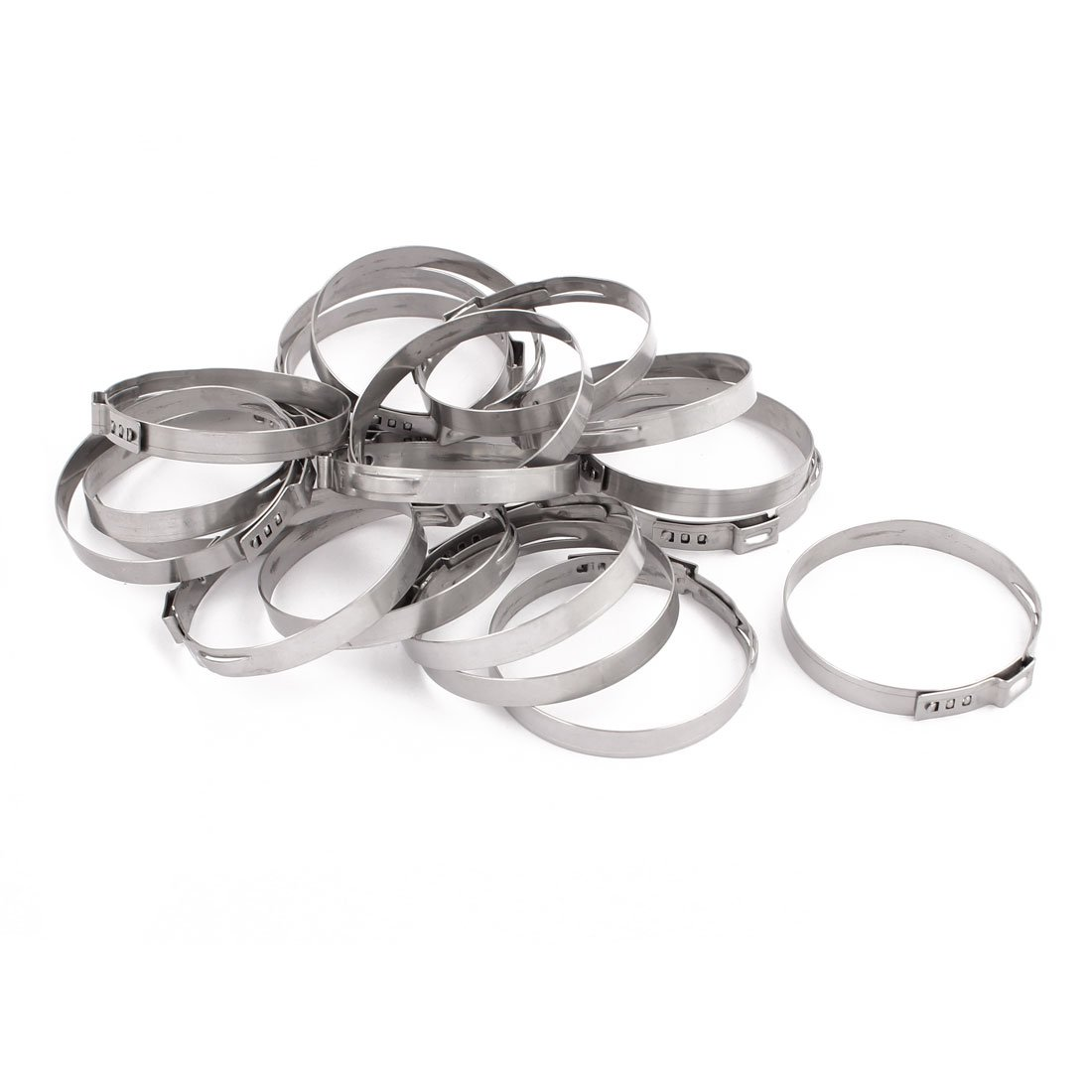 uxcell 48.8mm-52mm 304 Stainless Steel Adjustable Tube Hose Clamps Silver Tone 20pcs