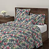 Roostery Protea Duvet Cover Fynbos Nature Painting Floral South Africa Sage Green by Micklyn 100% Cotton Twin Duvet Cover