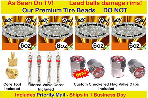 Flag Lead (Tire Beads by Checkered Flag Tires, no lead and no damage balance beads, 4- 6oz bags of tire balancing beads with filtered valve cores, red caps, 1 gold core tool, white smooth balance beads)