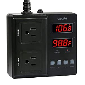 bayite Temperature Controller 1650W BTC211 Digital Outlet Thermostat, Pre-Wired, 2 Stage Heating and Cooling Mode, 110V - 240V 15A (Renewed)