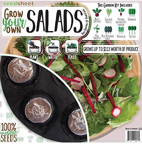 - Seedsheet, Grow Your Own Salads Container Garden, Organic Seed Pods, Arugula, Spinach, Pea Shoots, Golden Frill Mustard Greens, Beet Greens, Seedsheet Only, As Seen on Shark Tank
