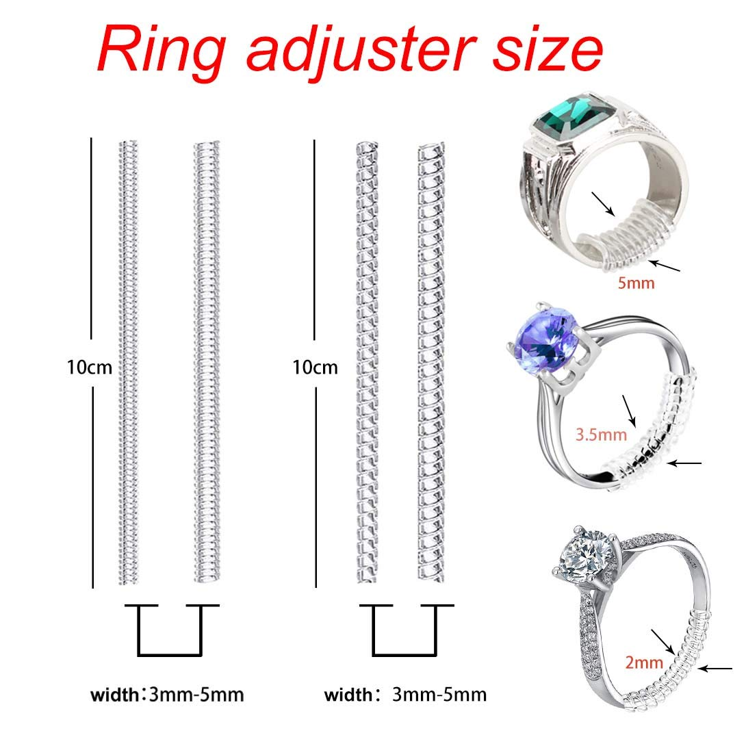 2 Styles Ring Guards-Spiral Silicone Tightener Ring Snuggies Ring Sizer-Ring Size Adjuster Perfect for Loose Rings-Loose Ring Fix-Ring Guard for Loose Rings 2 Sizes