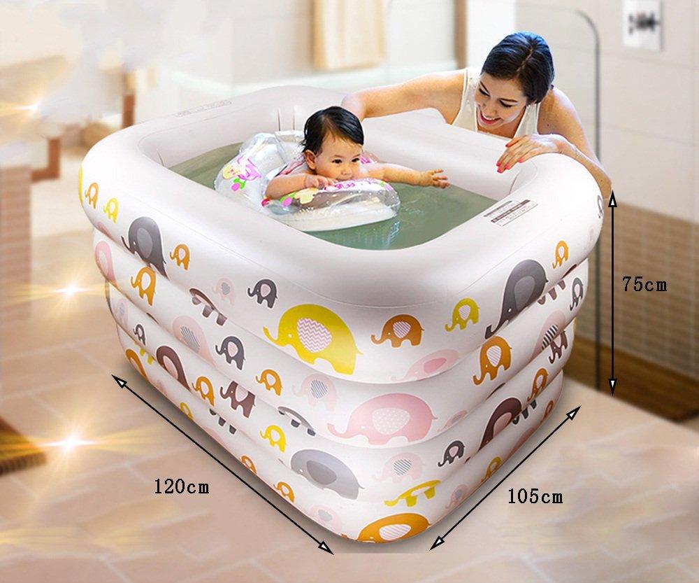 Sunhai& Children Play Pool Swimming Bucket Newborn Tub,Environmental Protection PVC Material Baby Inflatable Swimming Pool ( Size : 12010575cm )