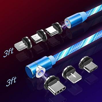 TOPK Magnético Cable Micro USB con LED, [2Pack 1m/1m] Multi 3 en 1 Cable Magnetic de Carga Cargador iman con Adaptador Micro 8Pin USB Tipo C para ...