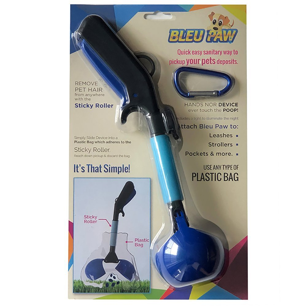 Bleu Paw Compact Versatile Pooper Scooper With LED Light and Pet Hair Remover
