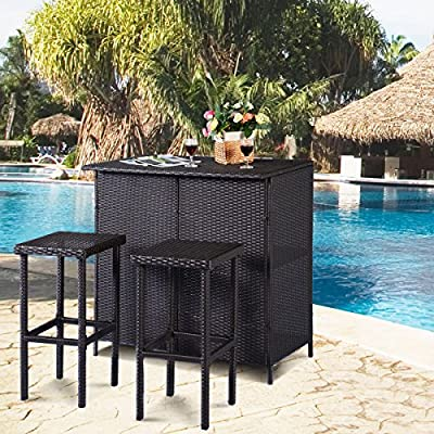 Tangkula 3 Piece Patio Bar Set Rattan Mimbre taburetes de Barra y ...