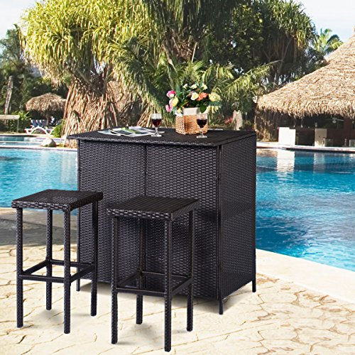 Tangkula 3 Piece Patio Bar Set Rattan Wicker Bar Stools Table for Lawn Pool Backyard Garden Dining Set with 2 Storage Shelves Indoor Outdoor Moder Wicker Bar Furniture