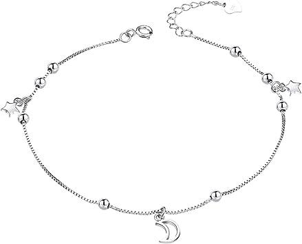 23-27 cm Nenalina 281002-051 Tobillera ajustable para mujer y ni/ña plata de ley 925