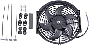 "ECCPP 10""inch 12V Universal Slim Fan Push Pull Electric Radiator Cooling Fans Mount Kit Replacement fit for Honda Accord Nissan 200SX Toyota Corolla BMW 323Ci 325Ci 330xi"