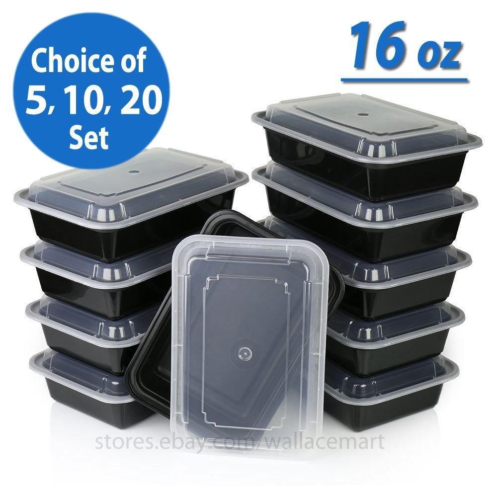 16oz comida Prep recipientes alimentos reutilizable con tapa para ...