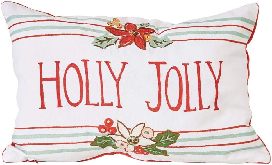 18 x 12-Inch Decorative Cotton Holly Jolly Christmas Throw Pillow with Stripes – Printed Holiday Accent Cushion - Winter Indoor Home Decor