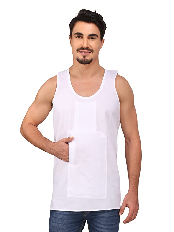 Rajubhai Hargovindas Men's White Cotton Travel Vest |2 Hidden Pockets | Sleeveless | Men's Underwear Vests at amazon
