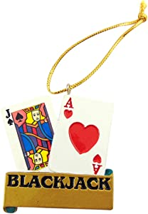 Blackjack Christmas Ornament Christmas Tree Decoration Handpainted Gambler Gift, 2 Inch