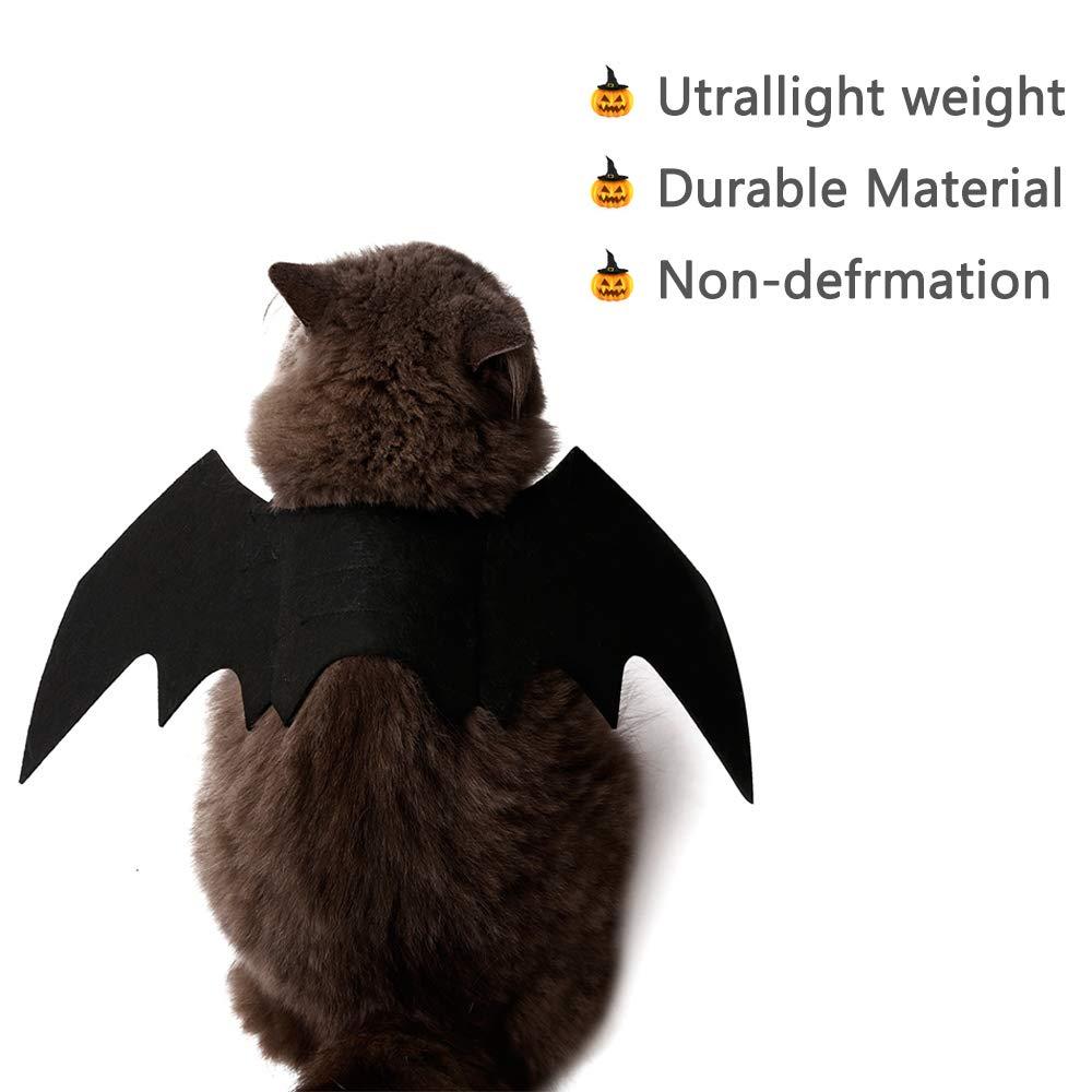 Ausein Halloween Pet Bat Wings Costume for Cat Dog, Cat Kitty Bat Wings Costume Dress up Cat Kitty for Halloween Festival- Black