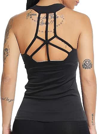 Women's Sports Seamless Padded Bra Racerback Yoga Crop Top Fitness Workout Hollow Shirt
