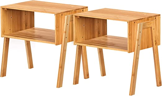 2pcs Modern Stackable Nightstand Sofa End Table Side Bedside Table Storage Shelf