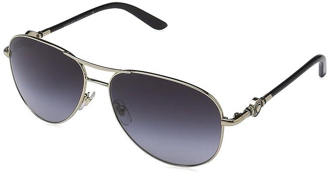 6c9d1f49f82e Versace - Lunette de soleil VE 2157 Pop Chic vanitas Aviator - Femme,  12528G, Pale Gold, Gray Grad  Amazon.fr  Vêtements et accessoires