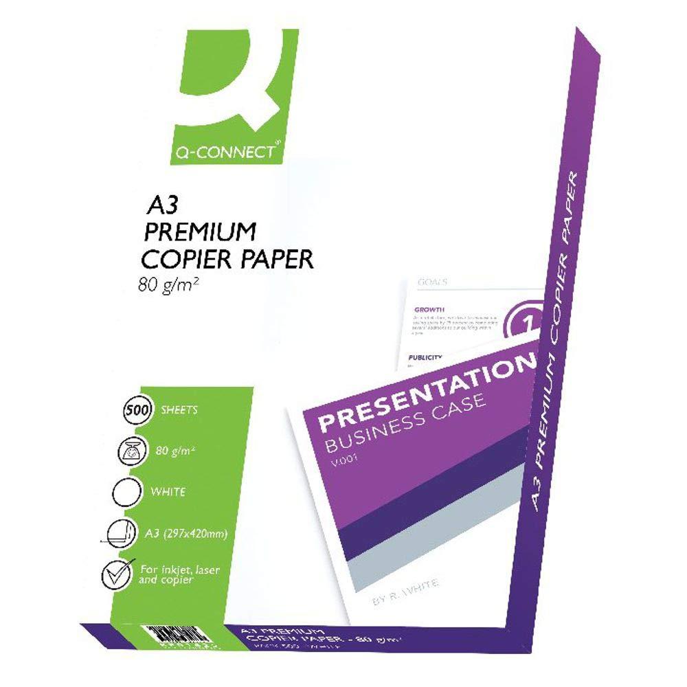 Q-Connect - Papel para impresora (A3, 80 g/m2, 500 hojas), color ...