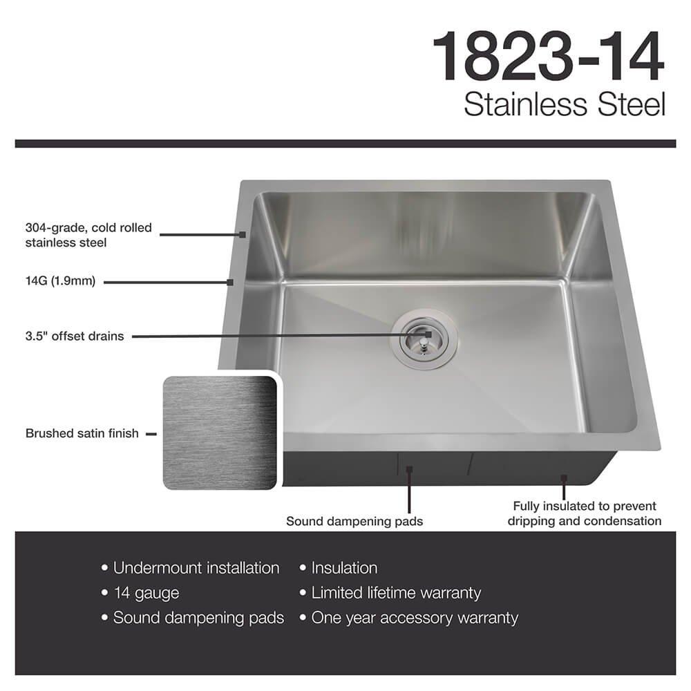 1823 14 gauge undermount single bowl 3 4 inch radius stainless steel kitchen sink     amazon com 1823 14 gauge undermount single bowl 3 4 inch radius stainless      rh   amazon com