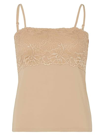Slenderella Gaspe Microfibre Floral Lace Cami Anti Static Contouring Vest  Top UK 10-20 (3 Colours)  Amazon.co.uk  Clothing 2afc56a6e