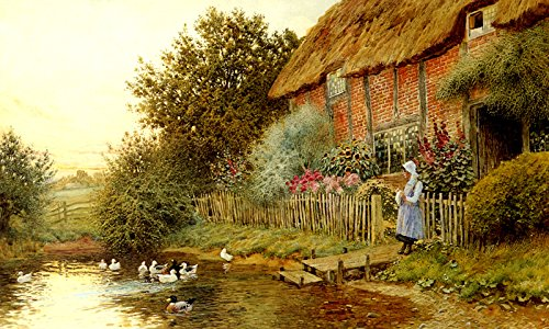 Cottage Retreat Poster (RUSTIC RETREAT COUNTRYSIDE COTTAGE FLOWERS LAKE DUCKS PAINTING BY CLAUDE STRACHAN ON CANVAS REPRO)