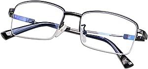 Computer Reading Glasses Blue Light Blocking Titanium Alloy Progressive Lenses Multifocal Spring Hinge Readers Eyeglasses Anti Glare Eye Strain Light Weight for Men Women (+2.5)