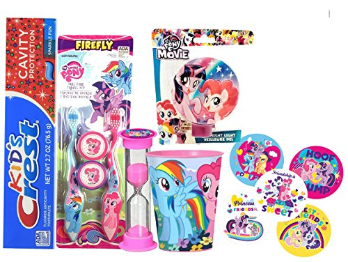 - My Little Pony Girl's All Inclusive Bathroom Collection! Toothbrush, Cap, Toothpaste, Brushing Timer, Rinse Cup, Night Light & Reward Stickers! Plus Dental Gift Bag & Tooth Saver Necklace!