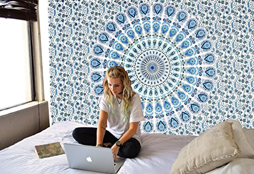 Turquoise and White Blue Tapestry Wall Hanging Mandala Tapestries Indian Cotton Bedspread Blanket Beach Towel Wall Art Hippie Bohemian Tapestry Wall D…