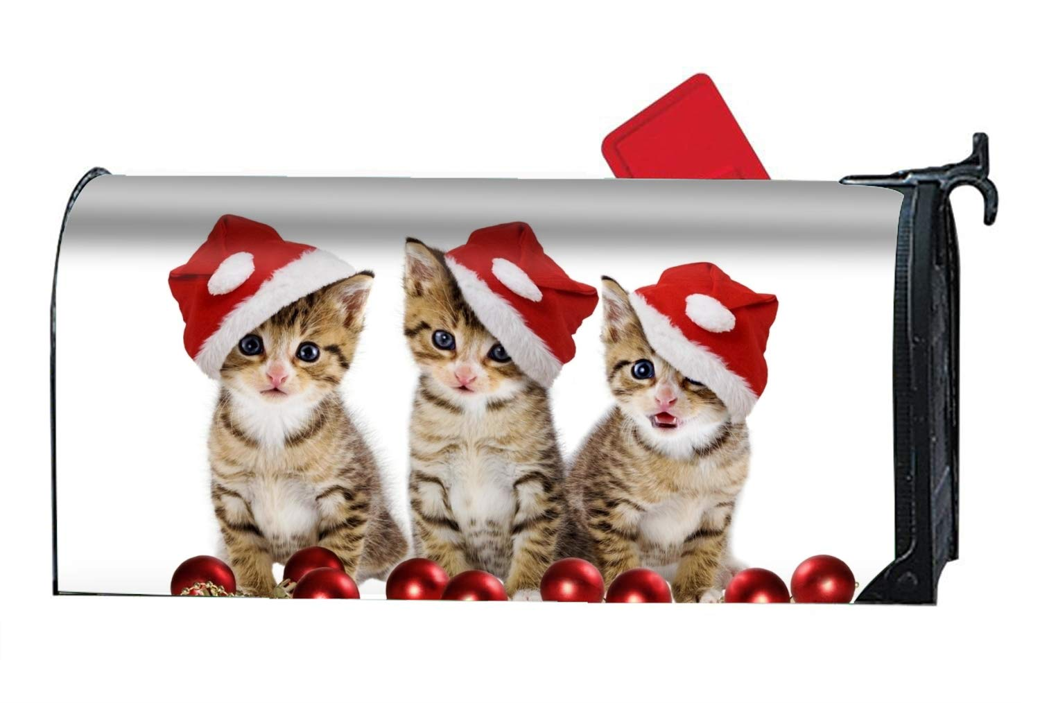 Verna Christopher Animal Cats Christmas Kitten Santa Hat Custom Magnetic PVC Mailbox Cover - Mailbox Makeover