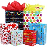 Fzopo Birthday Gift Bag Assortment with Ribbon Handle, Heavy Duty Paper Gift Bags