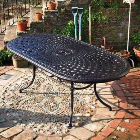 Catherine 210 x 105cm Ovales Gartenmöbelset Alu - 1 CATHERINE Tisch + 6 MARY Stühle