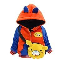 Winter Kids Cartoon Jacket, Baby Boy Girl Warm Hooded Coat with Shoulder Bags Toddler Infant Sweatshirt Outwear Tops