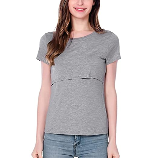 13379947a7464 Botrong Women Short Sleeve Pregnant Maternity Tops Mother Splice T-Shirt  Blouse (S,