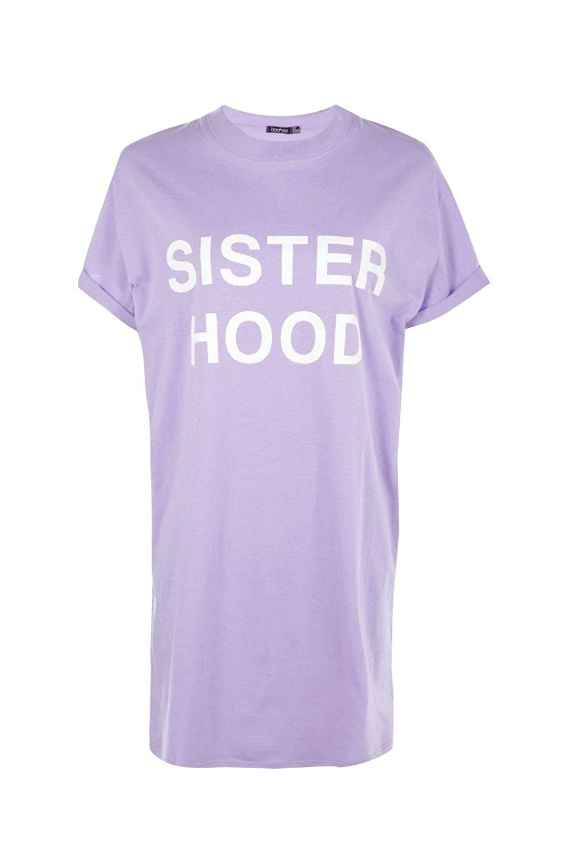 Boohoo Womens Tanya Sisterhood Slogan T-Shirt Dress at Amazon ...