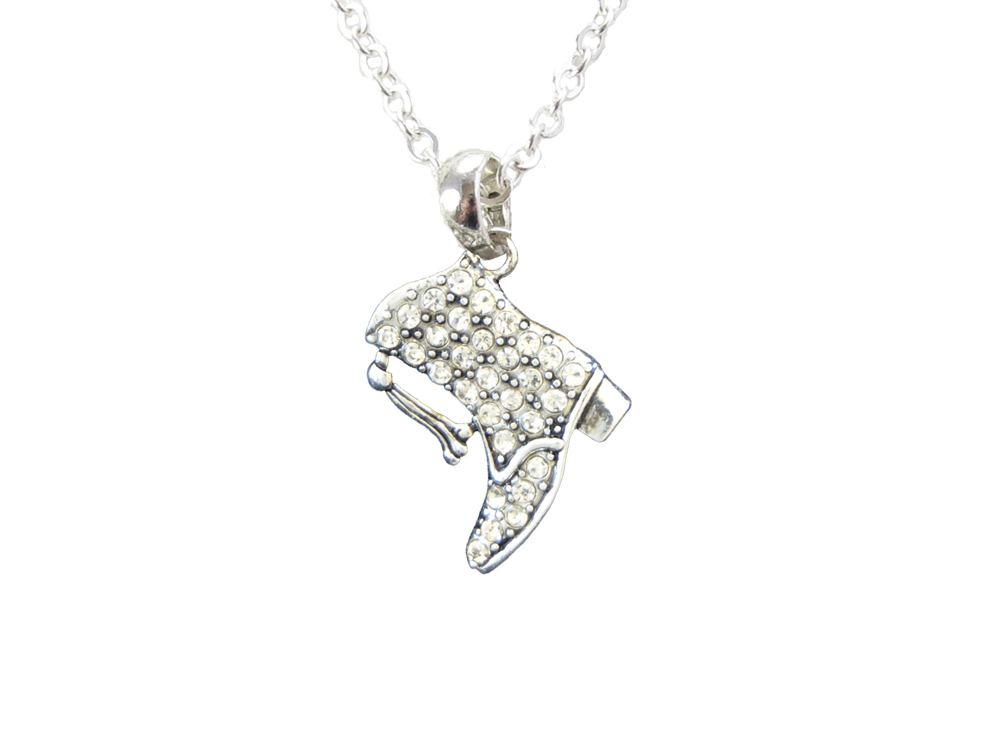 Drill Team Boot Crystal Silver Chain Necklace Jewelry Dance Pom Pep Squad