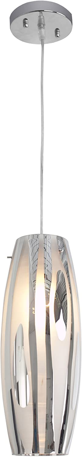 Chroman Empire 1-Light Mini Pendant - Chrome Finish with Two-Layer Smoky Chrome Glass Shade