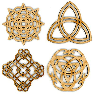 """EP Laser Celtic Ornaments 3"""" Set of 4 for Decorations, Gifts or Crafts - Attach to Gift Baskets, DIY Applications, Decorate - Scottish, British, Welsh, Irish Décor - Made from Recycled Wood"""