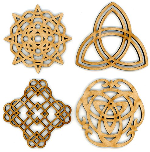 "EP Laser Celtic Ornaments 3"" Set of 4 for Decorations, Gifts or Crafts - Attach to Gift Baskets, DIY Applications, Decorate - Scottish, British, Welsh, Irish Décor - Made from Recycled Wood"