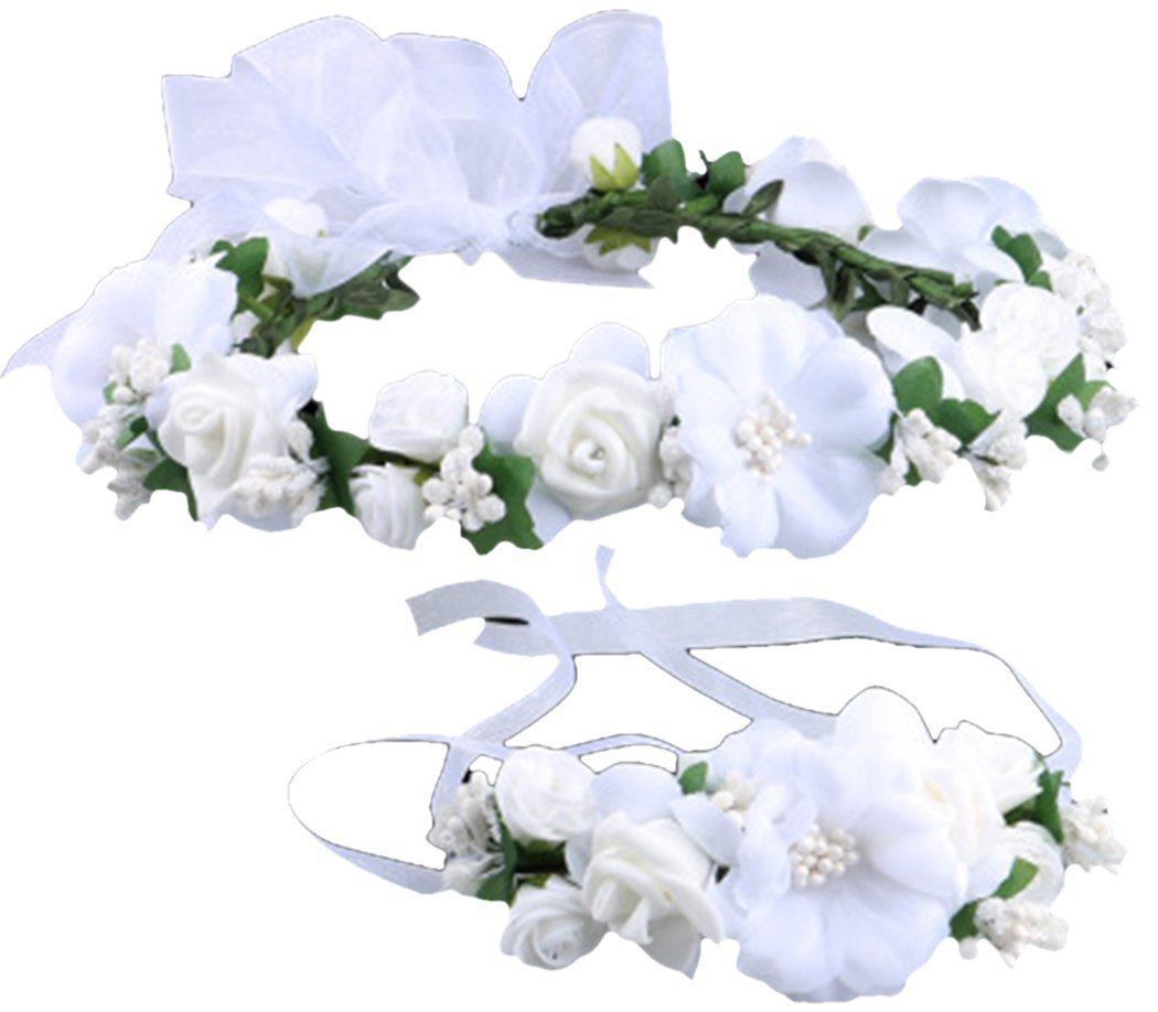 Love Sweety Rose Flower Crown Wreath Wedding Headband Wrist Band Set (White)