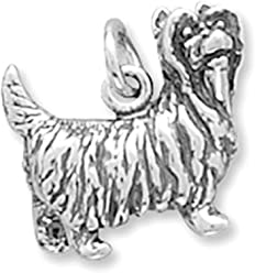 Sterling Silver Charm, 1/2 inch, 4.8 grams, Yorkshire Terrier Yorkie Dog Breed